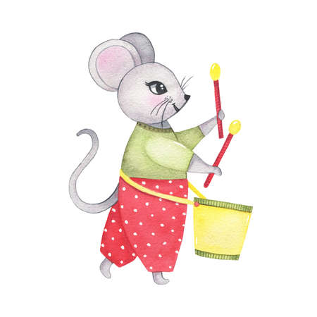 Watercolor circus animal mouse playing on drum isolated on white background. Happy birthday party, festive carnival decoration printable nursery for kid textile illustration Фото со стока
