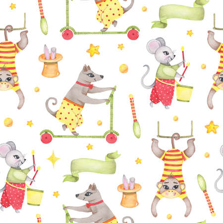 Watercolor circus animal seamless pattern with monkey hanging on swing, dog riding on scooter, mouse playing on drum, rabbit in hat isolated. Happy birthday festive carnival decoration illustration