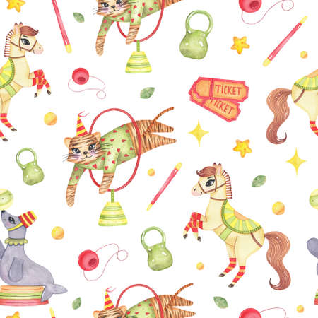 Watercolor circus animal seamless pattern with horse tiger jumping through circle, seal with ball on nose, weight, tickets, clown nose isolated. Happy birthday festive carnival decoration illustration