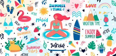 Collection of cute summer time elements with woman in swimsuit, handwritten lettering slogans, decoration design, fruits plants cat, surfboard. Trendy vector illustration in flat cartoon doodle style Illustration