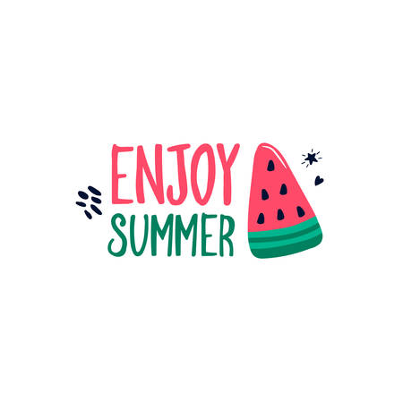 Enjoy summer handwritten lettering slogan with watermelon slices isolated on white background. Trendy calligraphic composition phrase. Vector illustration in flat style for textile t-shirt print Иллюстрация