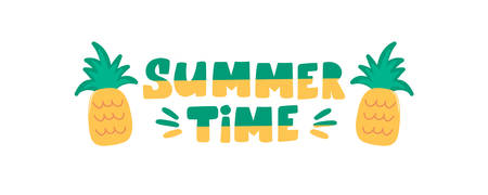 Summer time handwritten lettering text with pineapple isolated on white background. Trendy calligraphic composition phrase. Vector illustration slogan in flat style for textile clothes print