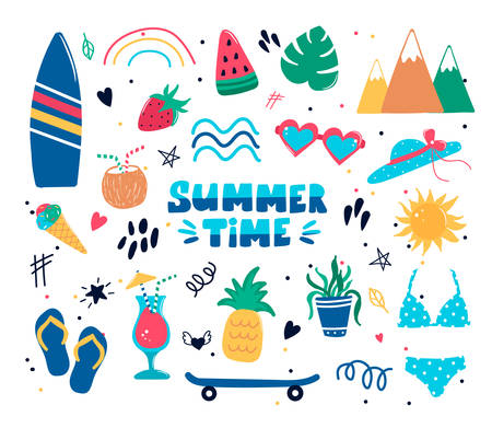 Collection of cute summer time elements with handwritten lettering slogans, watermelon pineapple ice cream, coconut cocktail glasses skateboard. Trendy vector illustration in flat cartoon doodle style