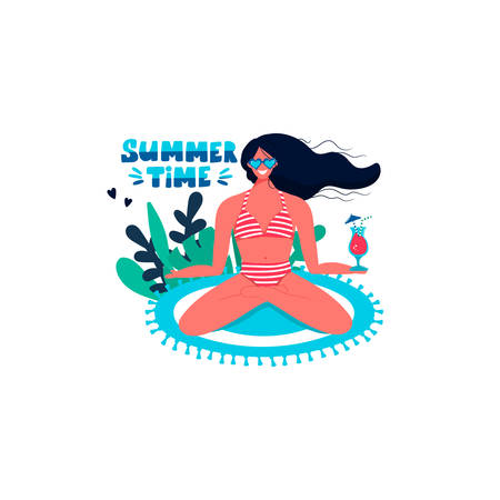 Summer time handwritten lettering text with woman sitting on beach mat in swimsuit with cocktail isolated on white background. Trendy calligraphic composition phrase. Vector illustration in flat style