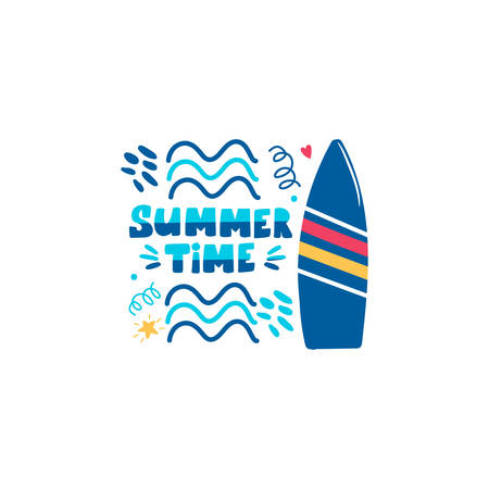 Summer time handwritten lettering phrase with surfboard and waves isolated on white background. Trendy calligraphic composition text. Vector illustration slogan in flat style for textile clothes print Иллюстрация