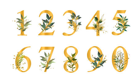 Golden floral numbers with green leaves and gold splatters isolated on white background. Vector illustration for wedding, greeting cards, invitations template design