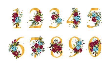 Golden floral numbers with flowers bordo navy blue roses leaves and gold splatters isolated on white background. Vector illustration for wedding, greeting cards, invitations template design