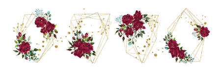 Wedding floral golden geometric triangular frame with bordo flowers roses and green leaves isolated on white background. Botanical decorative vector illustration for invitation card save the date