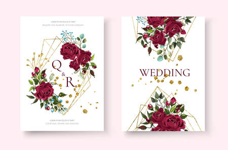 Wedding floral golden geometric triangular frame invitation card save the date design with bordo flowers roses and green leaves wreath. Botanical elegant decorative vector template in watercolor style