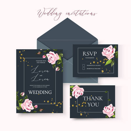 Wedding floral invitation card save the date design with pale pink flowers roses and green leaves wreath and frame on dark background. Botanical elegant decorative vector template in watercolor style