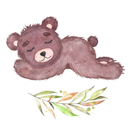 Watercolor cute little baby bear sleeping forest animal isolated on white background. Baby shower birthday card for children decoration kid illustration Фото со стока