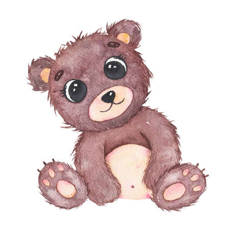 Watercolor cute little baby bear forest animal isolated on white background. Baby shower birthday card for children decoration kid illustration Фото со стока