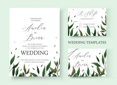Wedding floral greenery invitation card save the date rsvp design with green leaf herbs. Botanical elegant decorative vector template in watercolor style Иллюстрация