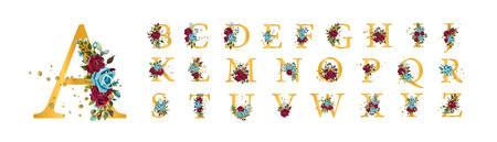 Golden floral alphabet font uppercase letters with bordo navy blue roses flowers leaves gold splatters isolated on white. Vector illustration for wedding, greeting cards, invitations template design Vektorové ilustrace