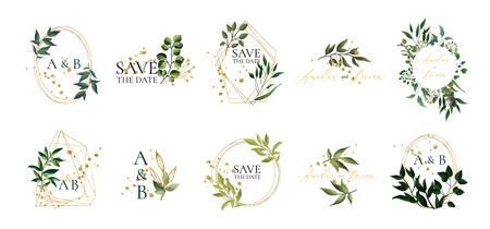 Conjunto de logotipos de boda florales y monograma con elegantes hojas verdes marco triangular geométrico dorado para invitación guardar el diseño de la tarjeta de fecha. Ilustración vectorial botánica Logos