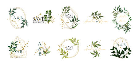 Set of floral wedding logos and monogram with elegant green leaves golden geometric triangular frame for invitation save the date card design. Botanical vector illustration Ilustração
