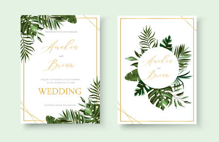 Wedding tropical exotic floral golden invitation card save the date design with green tropic monstera palm leaves herbs wreath and frame. Botanical elegant decorative vector template watercolor style Иллюстрация