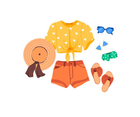 Set of outfit creator with summer fashion womens clothing t-shirt shorts shoes accessories earring hat glasses headwear. Collection of wardrobe clothes. Vector illustration cartoon flat style