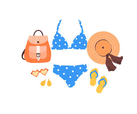Set of outfit creator with summer fashion womens clothing swimsuit flip flop shoes accessories earring bag glasses panama hat. Collection of wardrobe clothes. Vector illustration cartoon flat style Иллюстрация