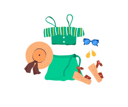 Set of outfit creator with summer fashion womens clothing top skirt shoes sandal accessories earring panama hat glasses. Collection of wardrobe clothes. Vector illustration cartoon flat style