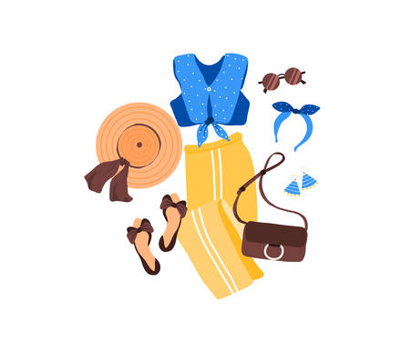 Set of outfit creator with summer fashion womens clothing top pant shoes accessories earring bag glasses headwear panama hat. Collection of wardrobe clothes. Vector illustration cartoon flat style Иллюстрация