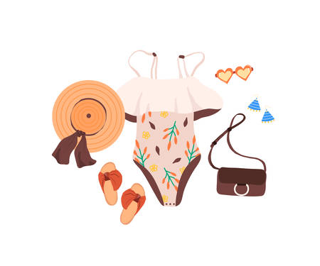 Set of outfit creator with summer fashion womens clothing body suit shoes sandal accessories earring panama hat bag glasses. Collection of wardrobe clothes. Vector illustration cartoon flat style