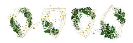 Wedding floral golden geometric triangular frame with tropic exotic greenery monstera palm leaves herbs wreath. Botanical decorative vector illustration for invitation card save the date Иллюстрация