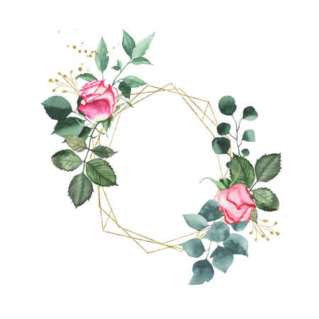 Watercolor gold geometrical round oval frame with pink red roses bud flower green leaves plant herb spring flora isolated on white background. Botanical illustration for wedding invitation card design