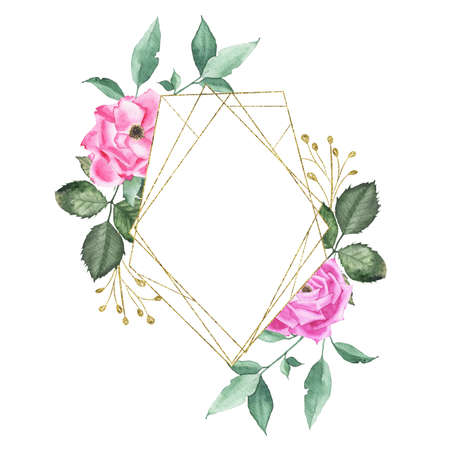 Watercolor gold geometrical round oval frame with pink purple roses bud flower green leaves plant herb spring flora isolated on white background. Botanical illustration for wedding invitation design Zdjęcie Seryjne