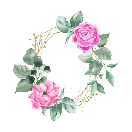 Watercolor gold geometrical oval frame with pink purple roses bud flower green leaves plant herb spring flora isolated on white background. Botanical illustration for wedding invitation card design Zdjęcie Seryjne