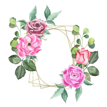 Watercolor gold geometrical round oval frame with pink maroon purple red roses bud flower green leaves herb spring flora isolated on white background. Botanical illustration for wedding invitation Stock fotó