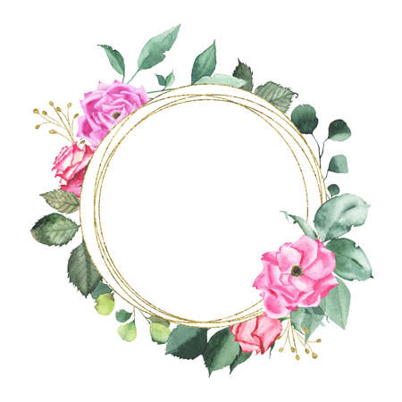 Watercolor gold geometrical round frame with pink purple red roses bud flower green leaves plant herb spring flora isolated on white background. Botanical illustration for wedding invitation design