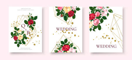 Wedding floral golden geometric triangular frame invitation card save the date design with pink red yellow flowers roses green leaves wreath. Botanical elegant decorative vector illustration Vector Illustration