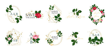 Set of floral wedding logos and monogram with elegant red pink roses green leaves golden geometric triangular frame for invitation save the date card design. Botanical vector illustration Stockfoto - 129994403