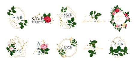 Set of floral wedding logos and monogram with elegant red pink roses green leaves golden geometric triangular frame for invitation save the date card design. Botanical vector illustration
