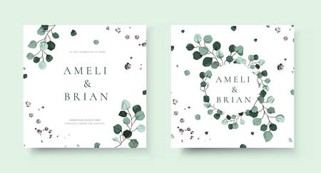 Wedding invitation card with silver dollar eucalyptus greenery leaves floral branches minimalist save the date design wreath and frame. Botanical mint green foliage plant rustic vector illustration Vector Illustration