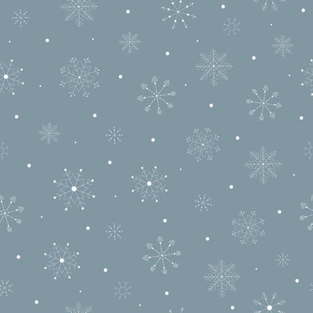 Seamless pattern with white hand drawn christmas snowflakes new year winter doodle icons isolated. Vector illustration in outline style Ilustracja