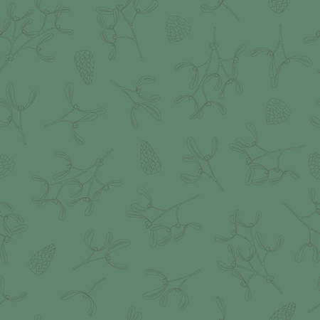 Seamless pattern with black hand drawn christmas mistletoe pine cone new year winter doodle icons isolated. Vector illustration in outline style
