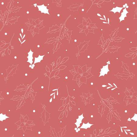 Seamless pattern with white hand drawn christmas new year winter doodle icons leaves berry holly jolly isolated. Vector illustration in outline style Ilustracja