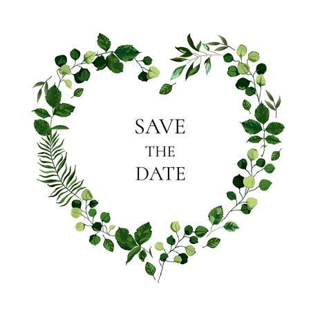 Wedding floral invite card save the date design with botanic green leaf herbs heart shape wreath. Botanical greenery elegant decorative vector template watercolor style