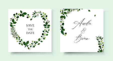 Wedding floral invite card save the date design with botanic green leaf herbs wreath and frame. Botanical greenery elegant decorative vector template watercolor style