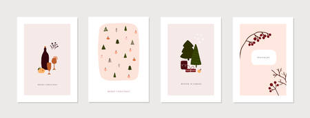 Set of christmas new year winter holiday greeting cards with xmas decoration. Vector abstract trendy illustration in minimalistic hand drawn flat style Ilustracja