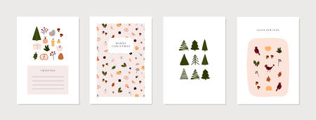 Set of christmas new year winter holiday greeting cards with xmas decoration. Vector abstract trendy illustration in minimalistic hand drawn flat style Illusztráció