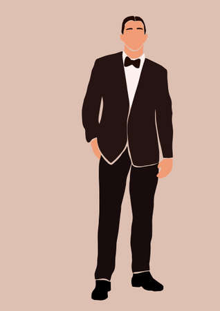 Abstract groom in wedding suit card isolated on light background. Fashion minimal trendy man in cartoon flat style. Trendy poster wall print decor vector illustration