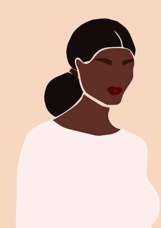 Abstract portrait of bride in wedding dress isolated on light background. Fashion minimal trendy african american black woman in cartoon flat style. Trendy poster wall print decor vector illustration