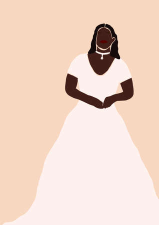 Abstract bride in wedding dress card isolated on light background. Fashion minimal trendy african american black woman in cartoon flat style. Trendy poster wall print decor vector illustration Иллюстрация