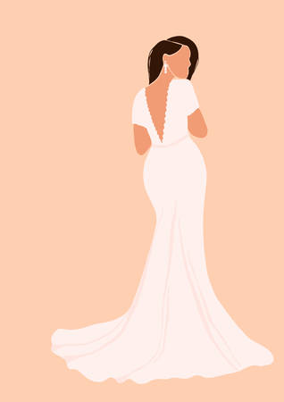 Abstract bride in wedding dress card isolated on light background. Fashion minimal trendy woman in cartoon flat style. Trendy poster wall print decor vector illustration