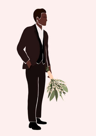 Abstract african american black groom in wedding suit with bouquet in hand isolated on light background. Fashion minimal trendy man in cartoon style. Trendy poster wall print decor vector illustration
