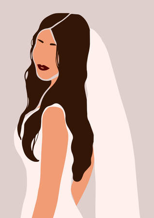 Abstract portrait of bride in wedding dress card isolated on light background. Fashion minimal trendy woman in cartoon flat style. Trendy poster wall print decor vector illustration