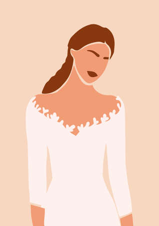 Abstract portrait of bride in wedding dress cardisolated on light background. Fashion minimal trendy woman in cartoon flat style. Trendy poster wall print decor vector illustration
